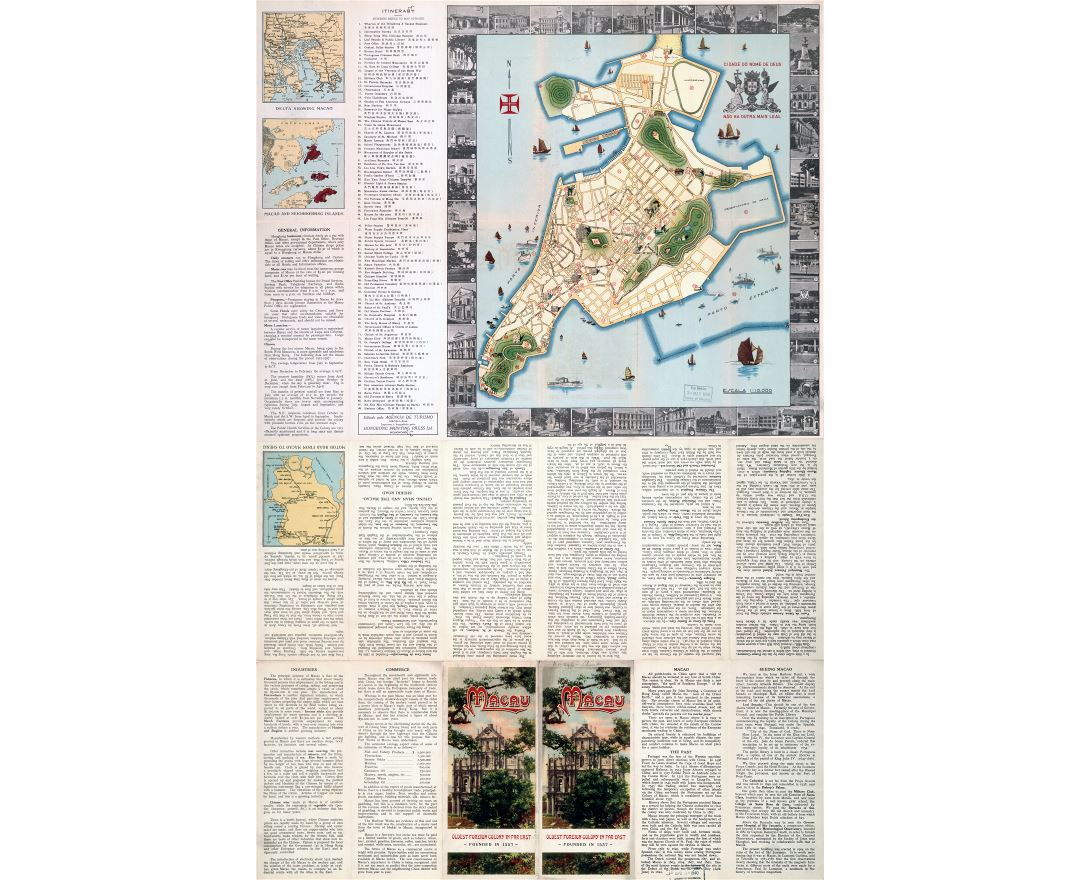 Large scale detailed old tourist map of Macau - 1936