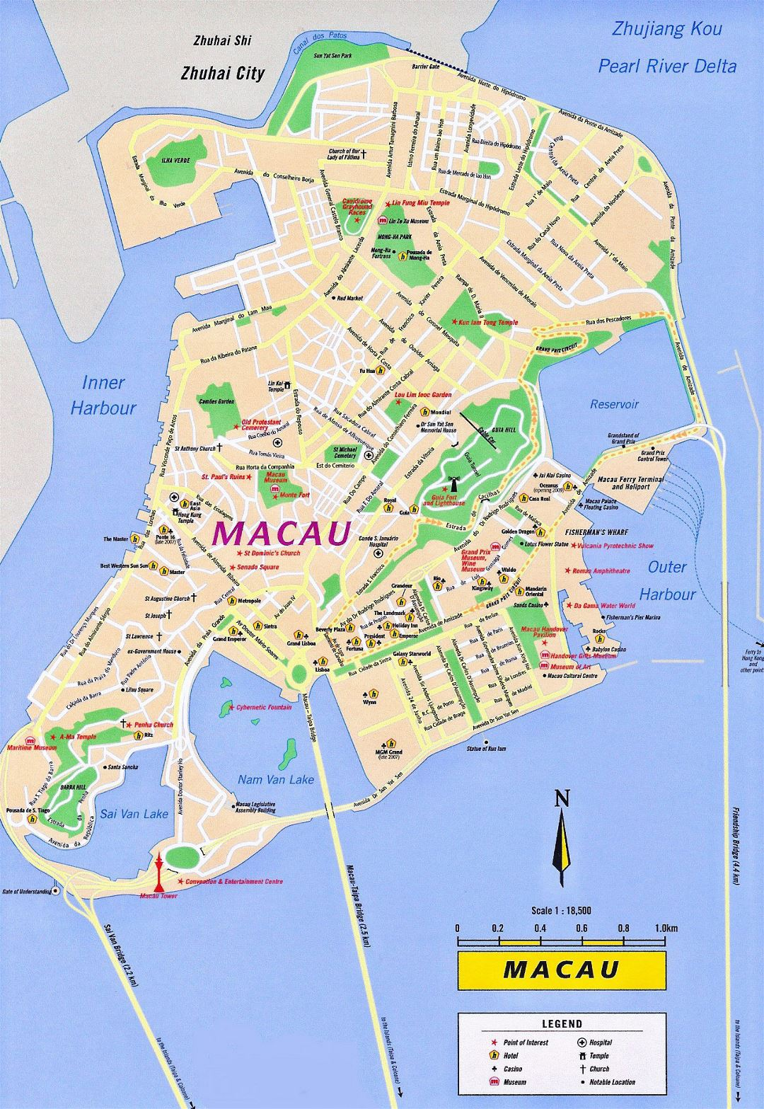 Large tourist map of Macau with roads
