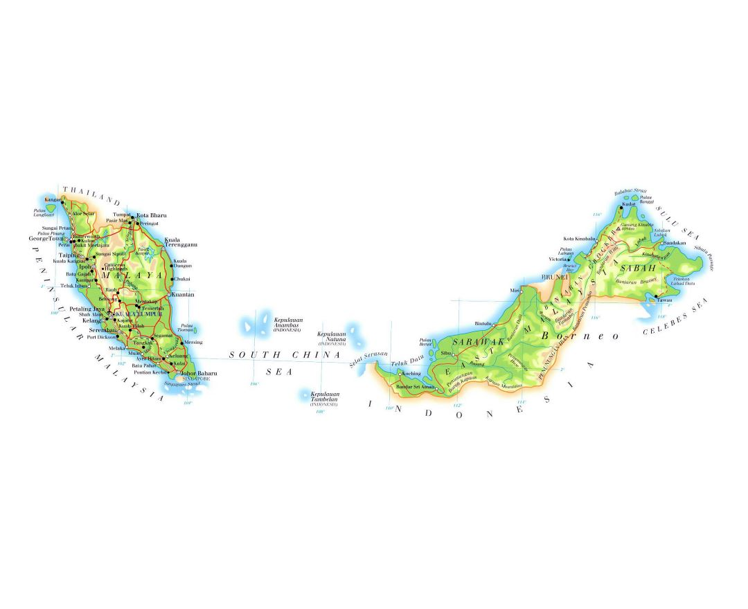 Detailed elevation map of Malaysia with roads, cities and airports