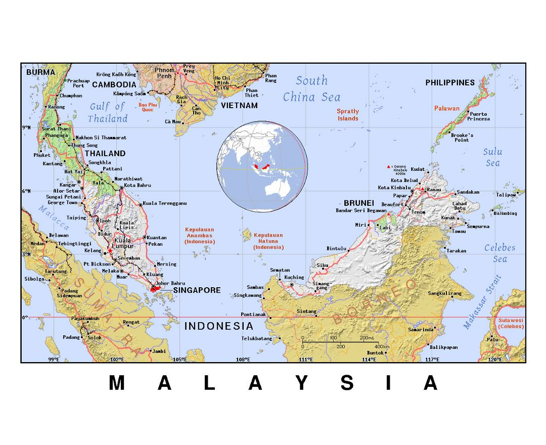 Detailed political map of Malaysia with relief