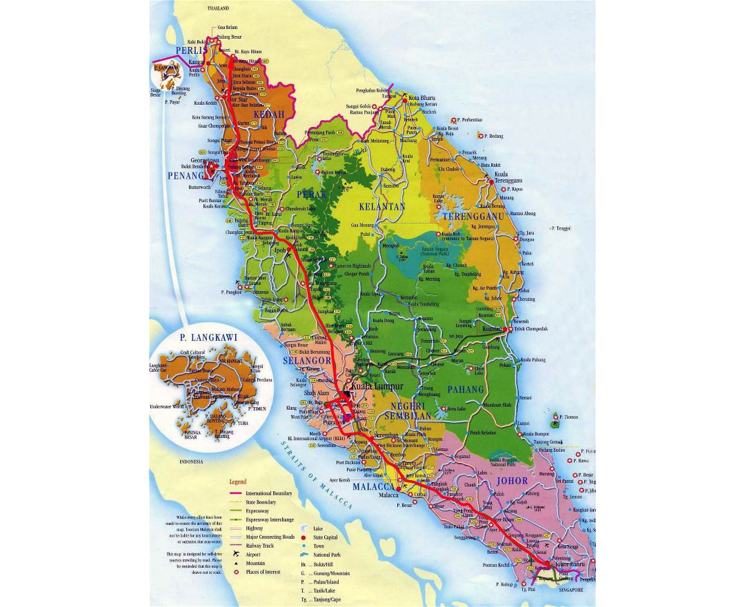 Detailed tourist and administrative map of West Malaysia with roads, cities and airports
