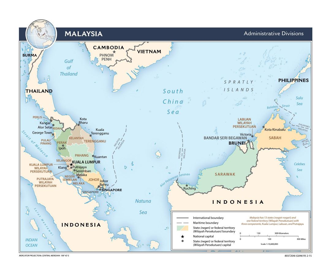 Large detailed administrative divisions map of Malaysia - 2015