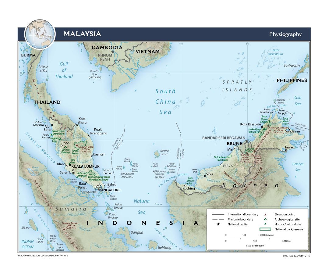 Large detailed physiography map of Malaysia - 2015