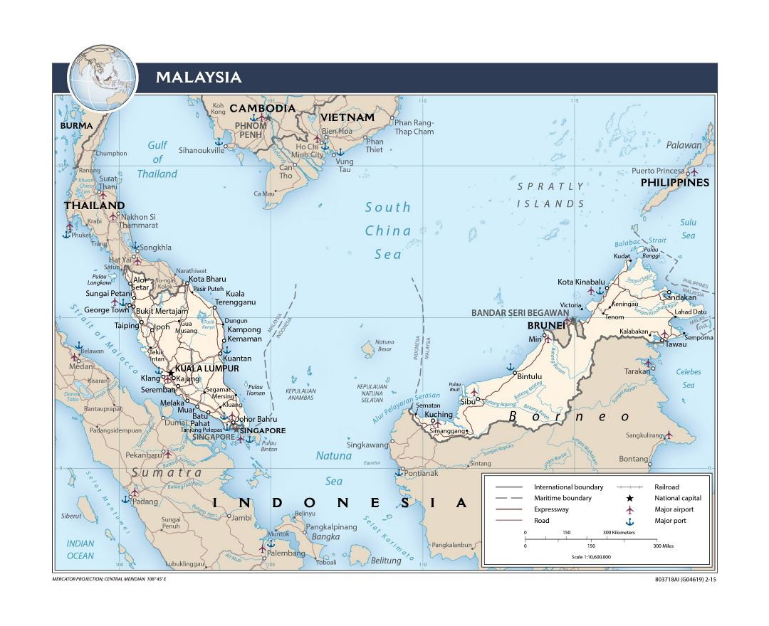 Large detailed political map of Malaysia with roads, railroads, major cities, ports and airports - 2015