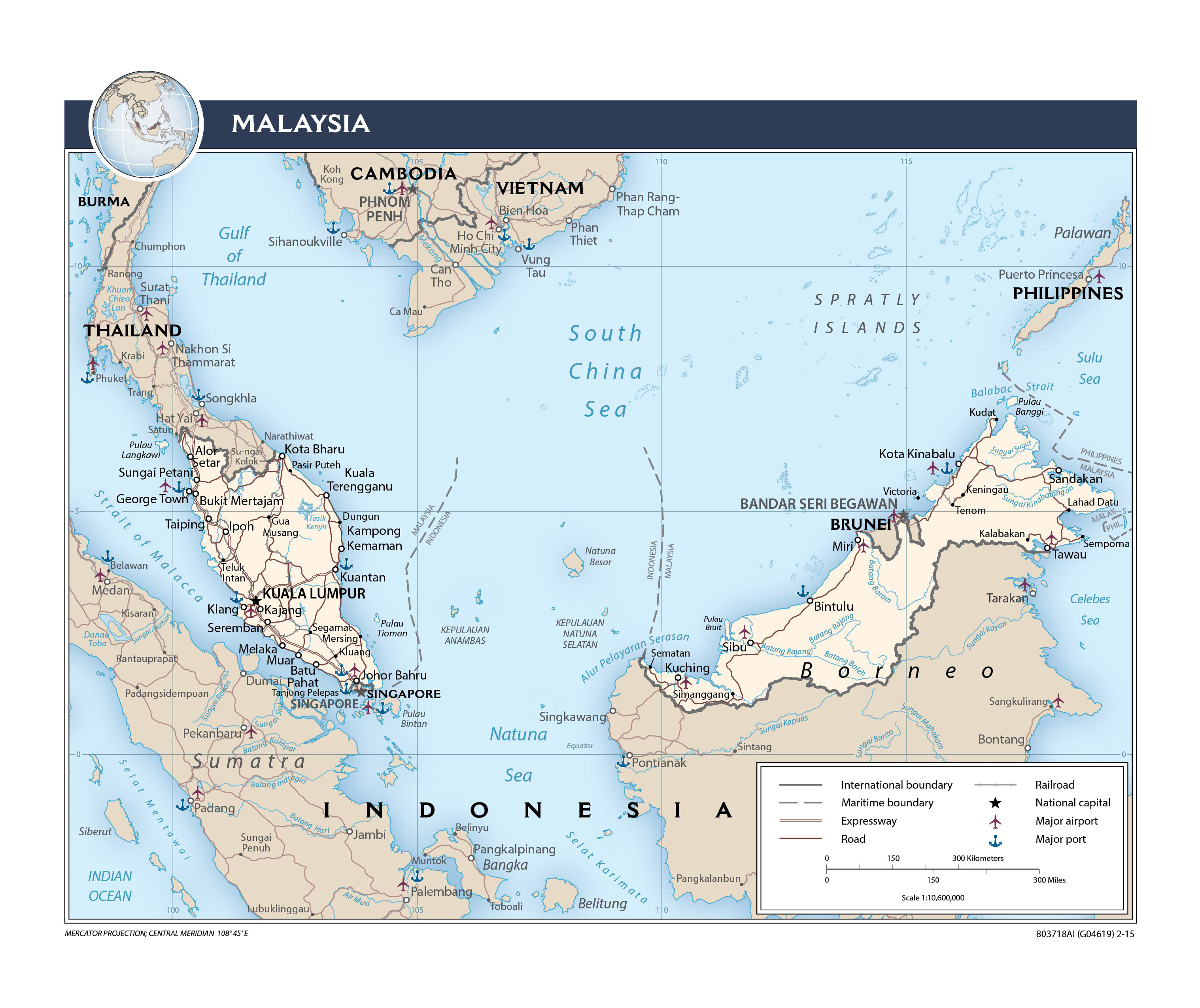 Large detailed political map of Malaysia with roads railroads