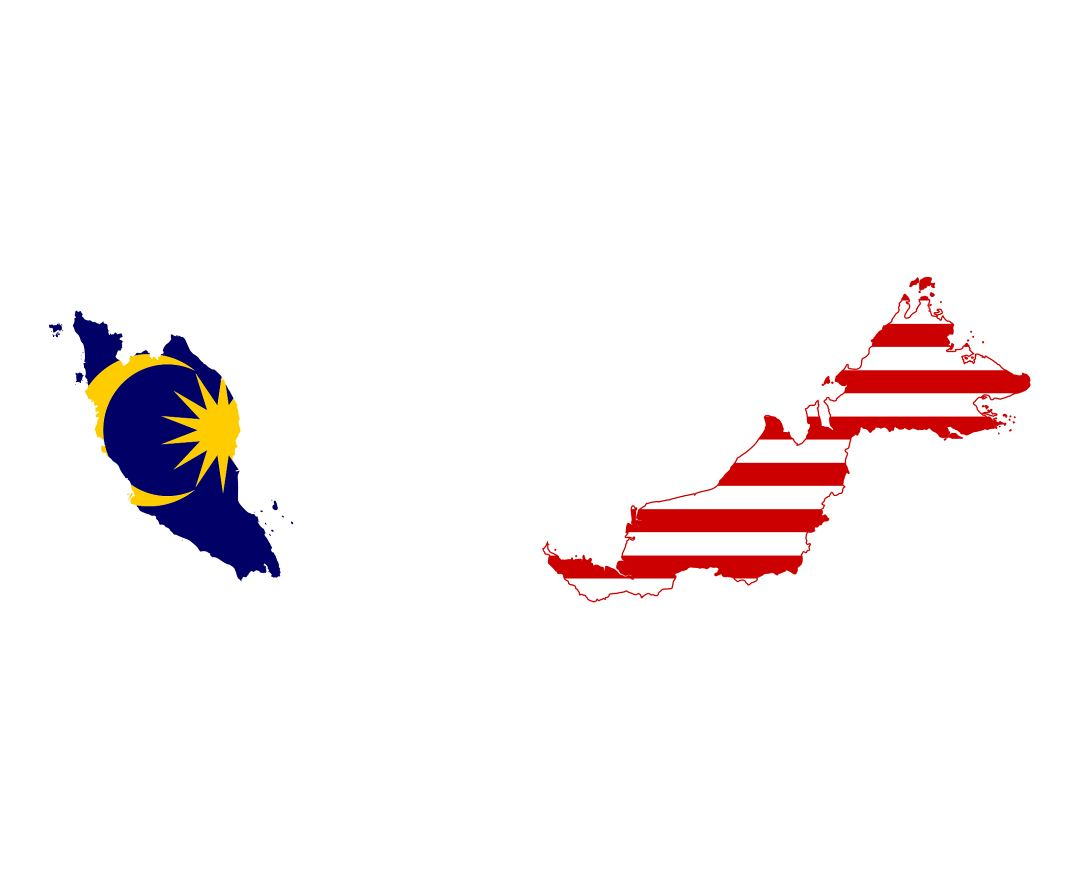 Large flag map of Malaysia