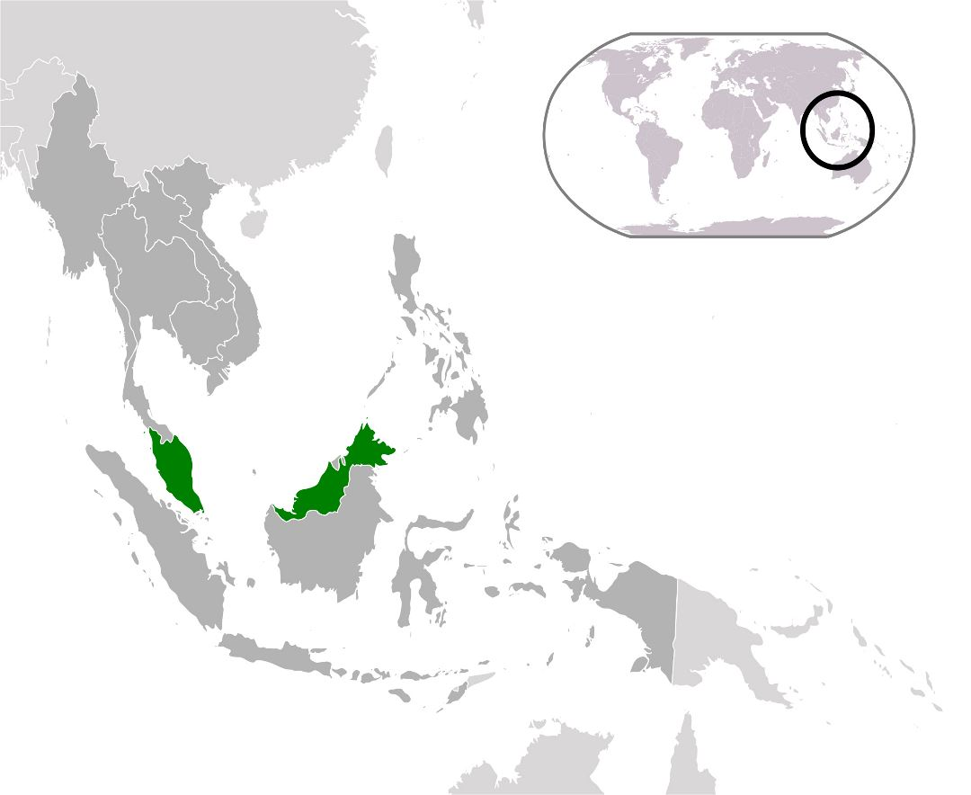 Large location map of Malaysia