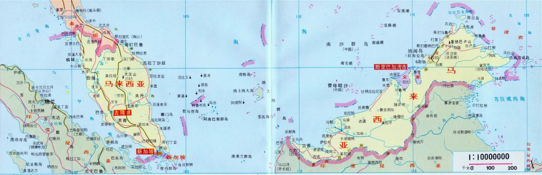 Large map of Malaysia in chinese