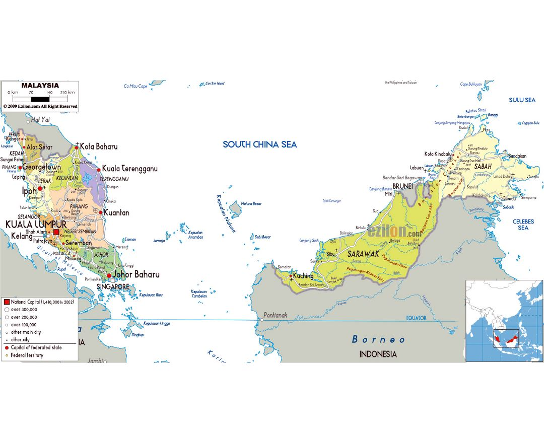 Large political and administrative map of Malaysia with roads, cities and airports