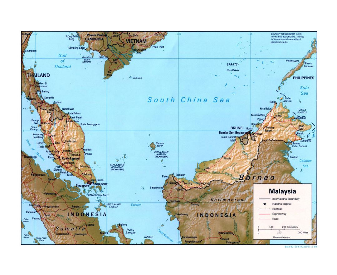 Large political map of Malaysia with relief, roads, railroads and major cities - 1998