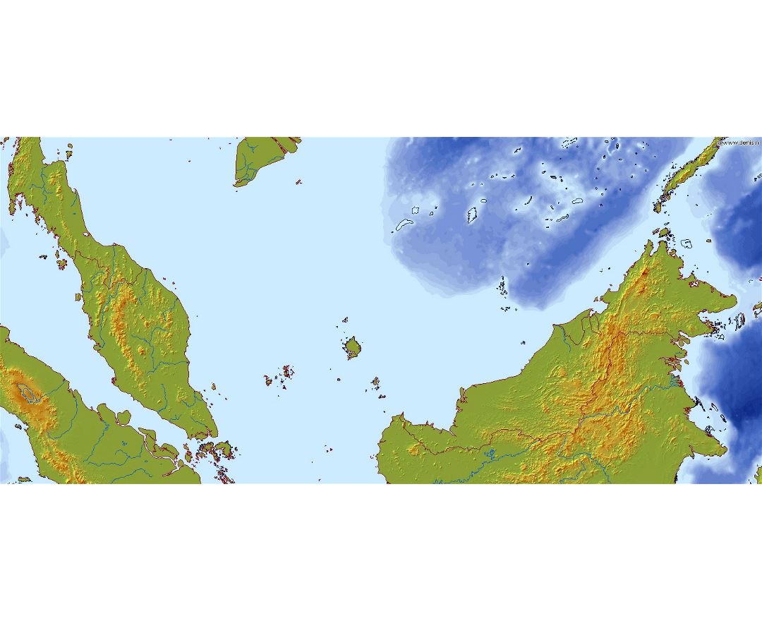 Large relief map of Malaysia