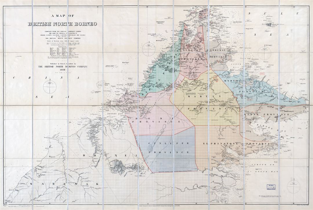 Large scale detailed old map of British North Borneo - 1888