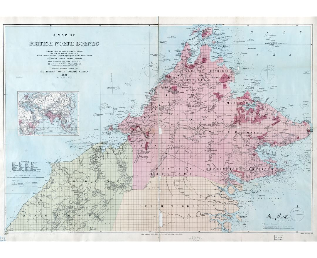 Large scale detailed old map of British North Borneo - 1899