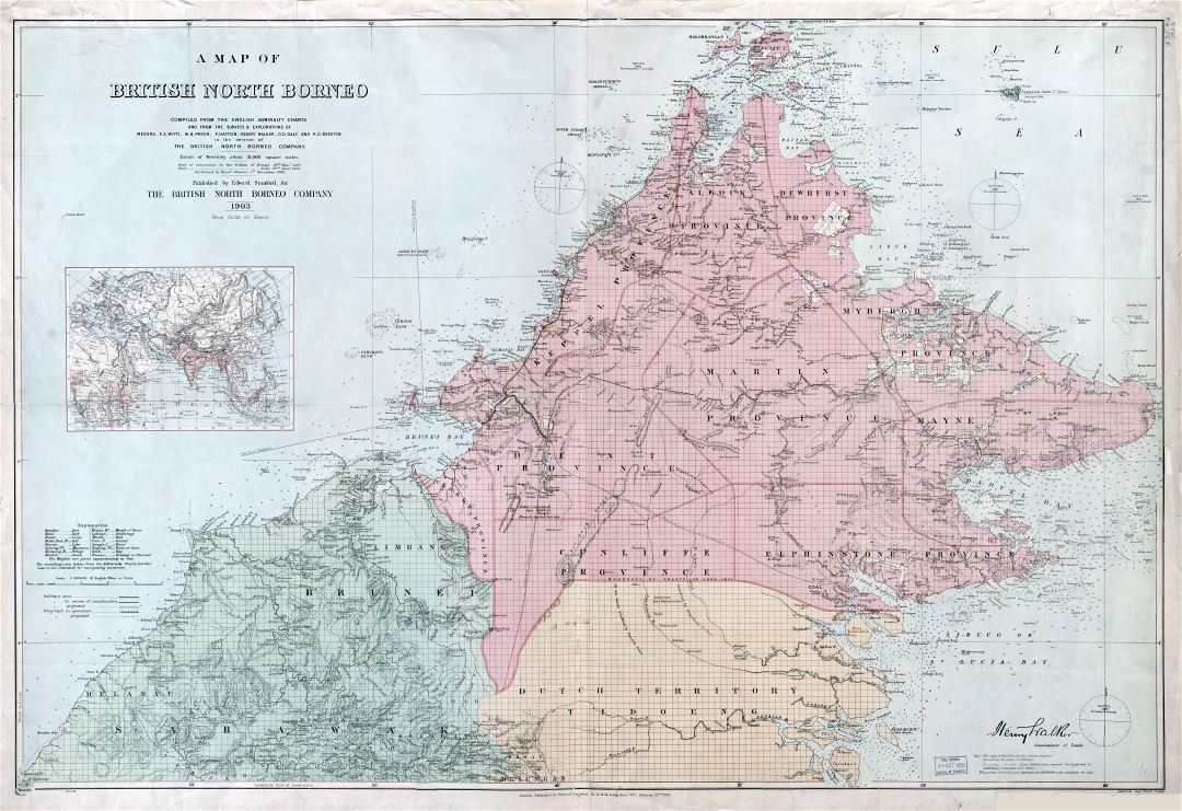 Large scale detailed old map of British North Borneo - 1903