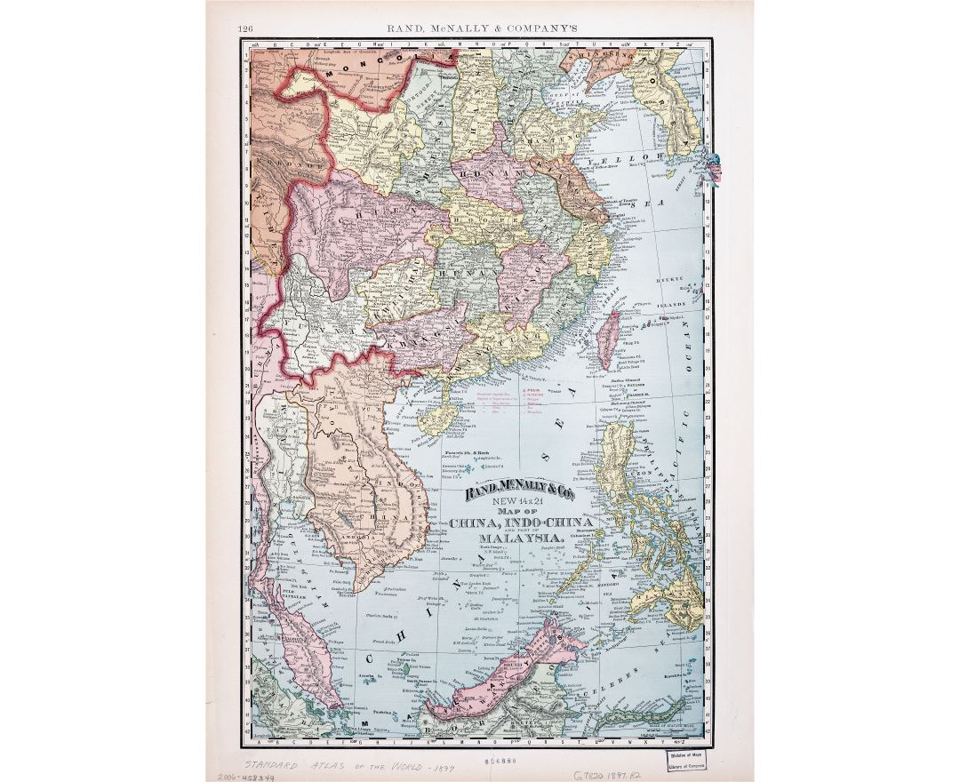 Large scale old political map of China, Indochina and part of Malasysia - 1897