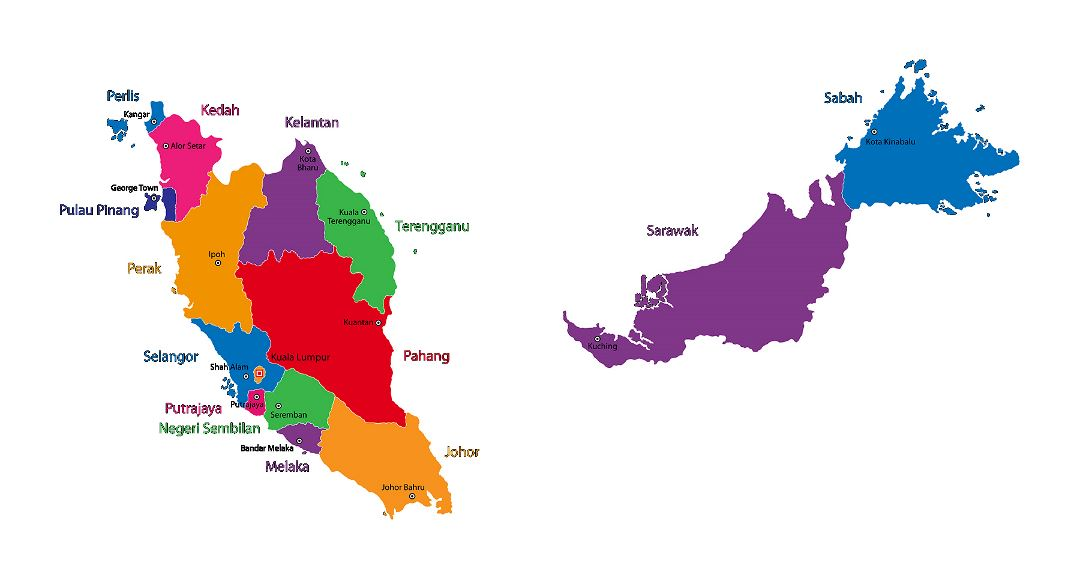 Large states map of Malaysia