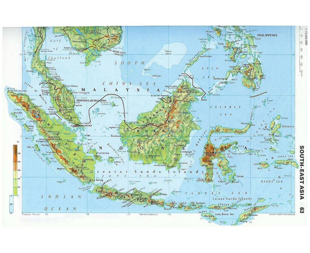 Large topographical map of Malaysia