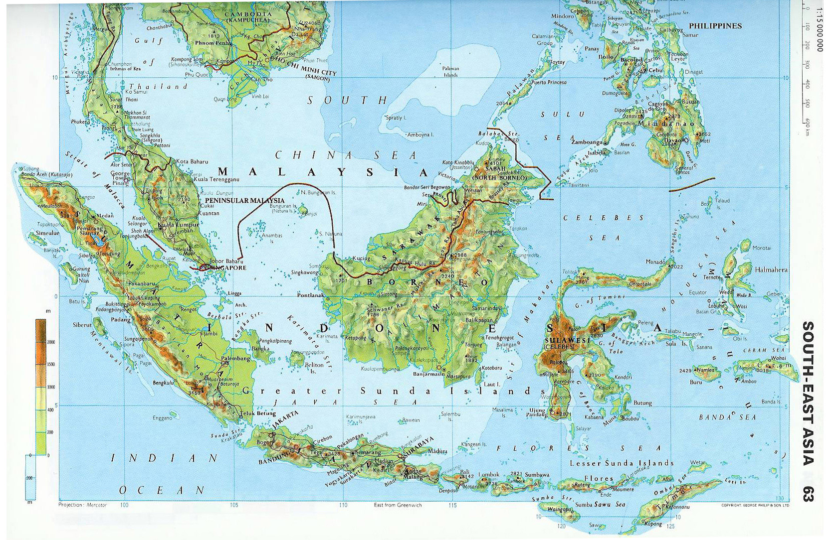 Large topographical map of malaysia malaysia asia mapsland large topographical map of malaysia gumiabroncs Image collections