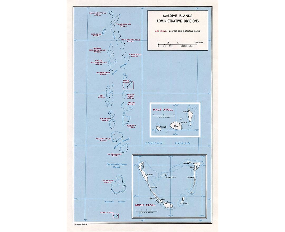Maps of maldives detailed map of maldives in english tourist detailed administrative divisions map of maldives 1968 sciox Gallery