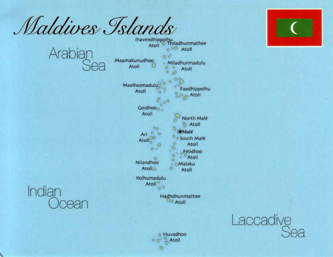 Detailed map of Maldives with flag