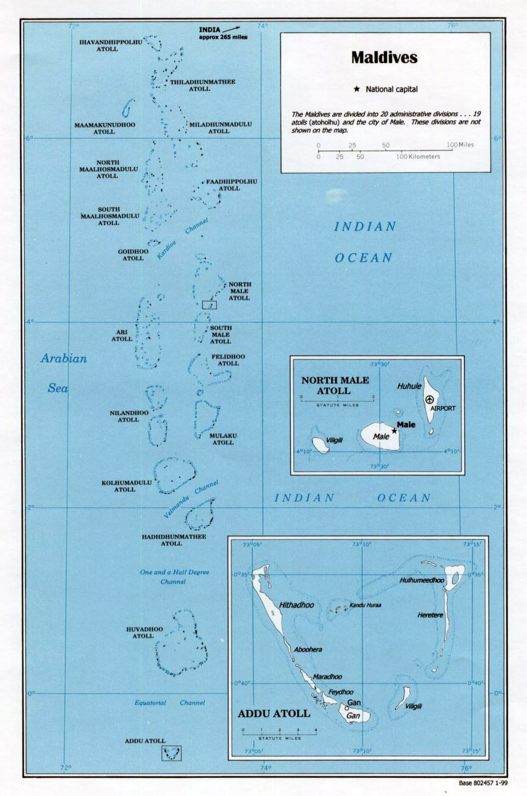 Detailed political map of Maldives - 1999