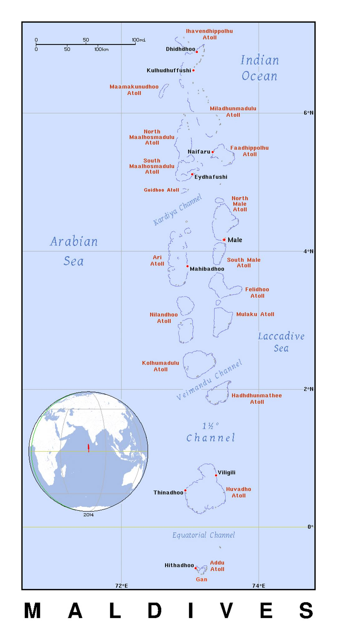Detailed political map of Maldives with cities