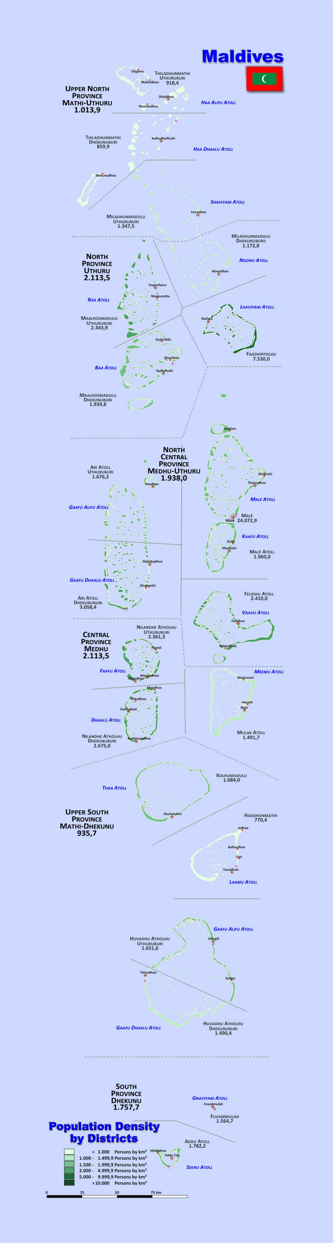 Detailed population density by districts map of Maldives