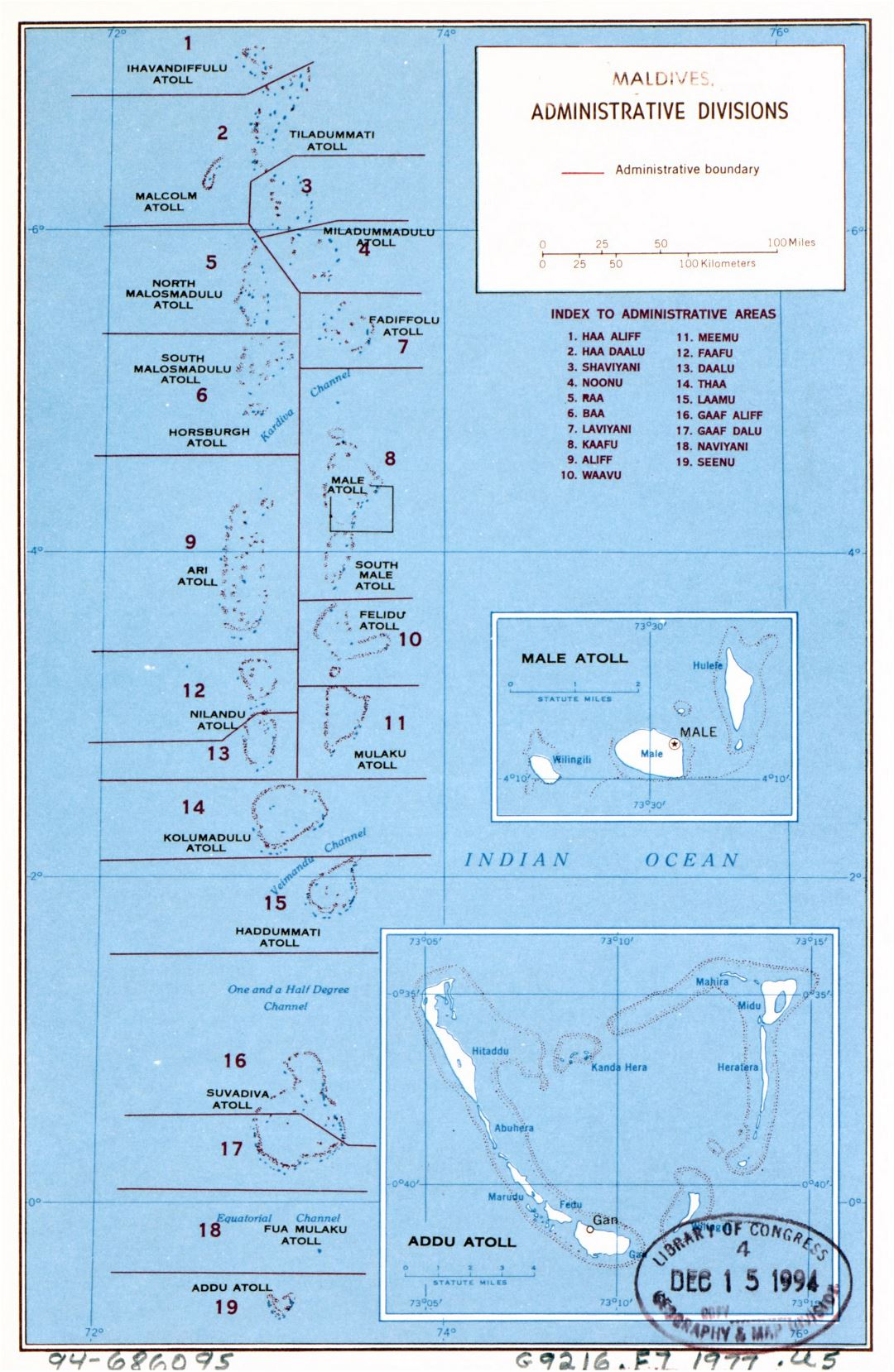 Large administrative divisions map of Maldives - 1977