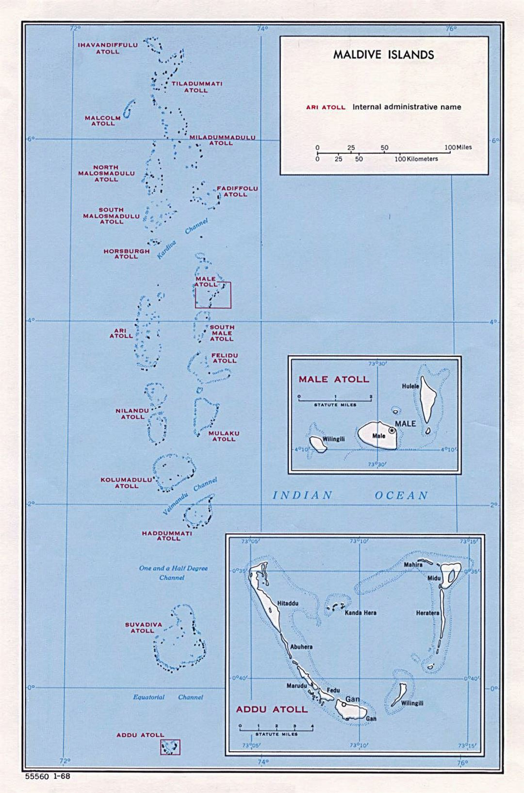 Large administrative map of Maldives - 1968