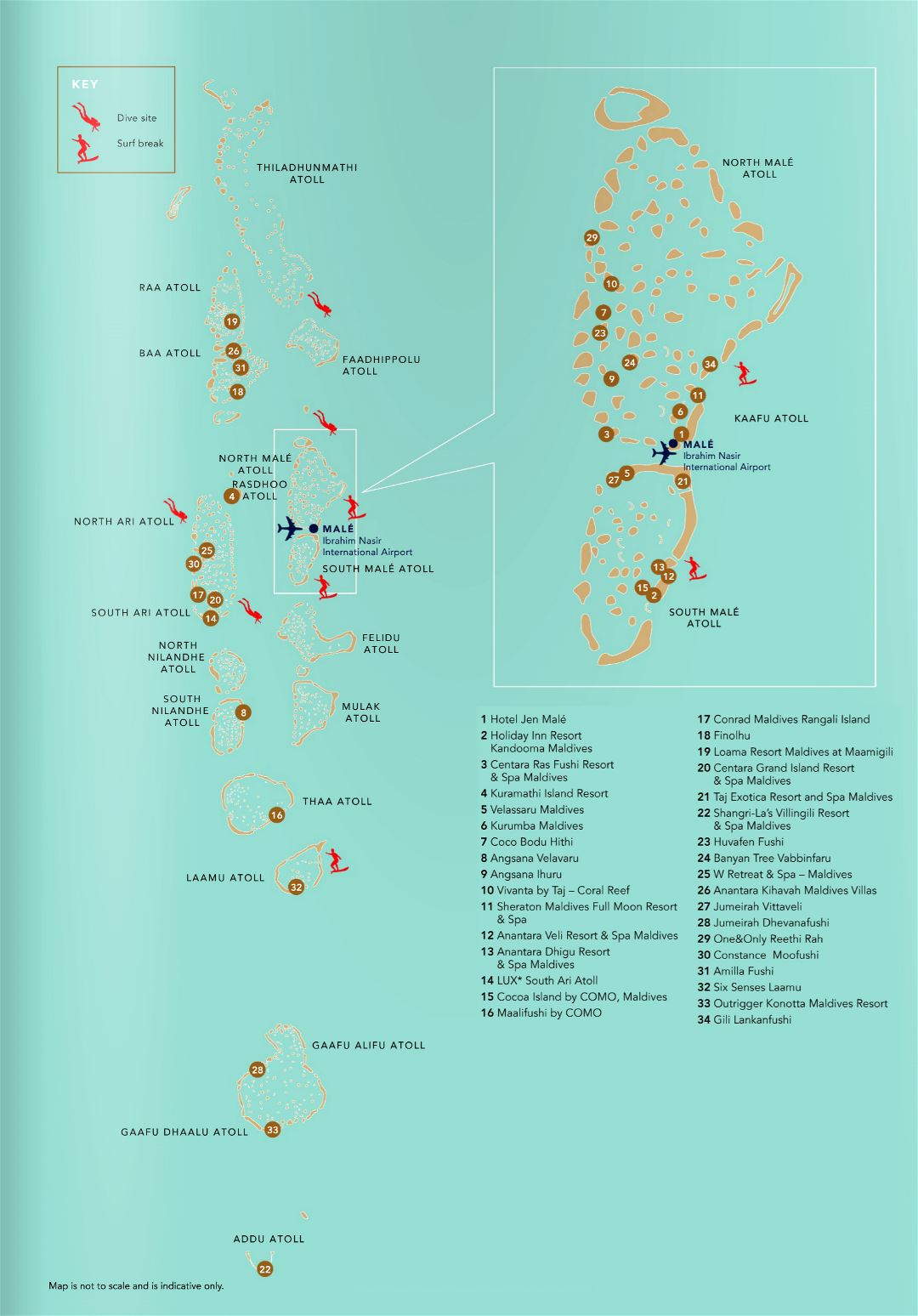 Large detailed diving map of Maldives