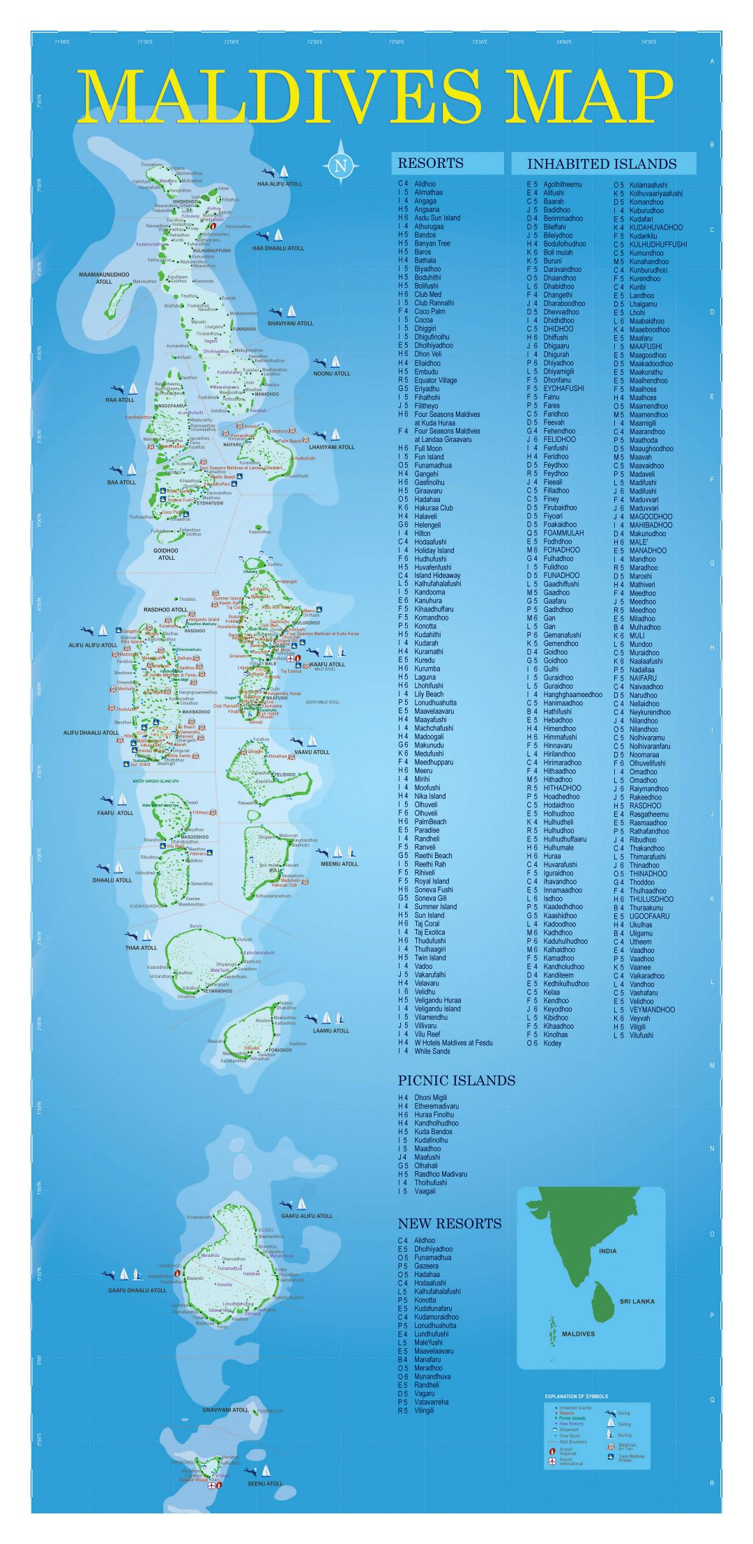 Large detailed tourist map of Maldives