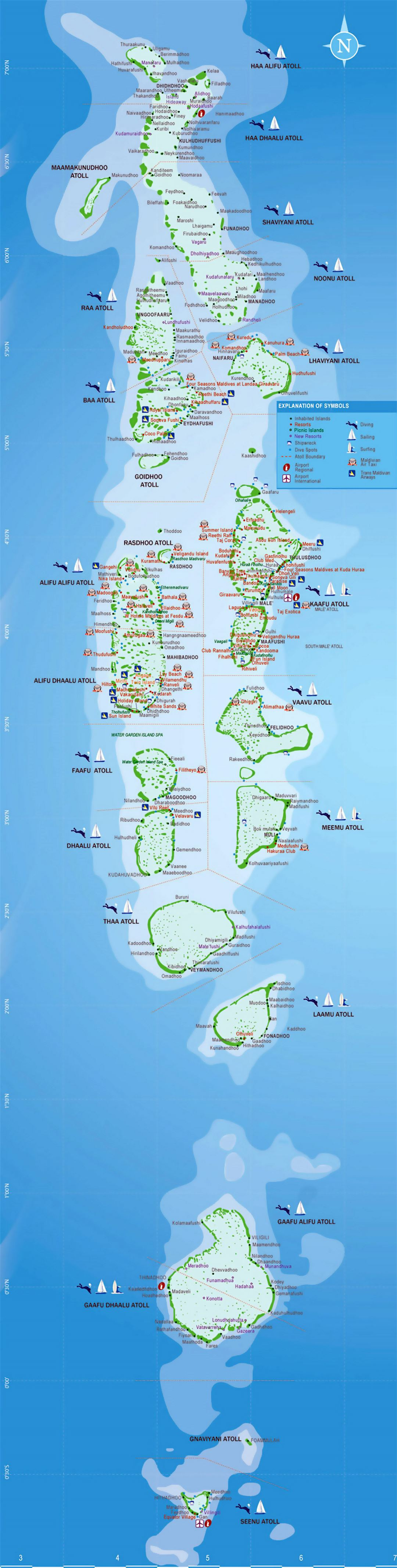Large map of Maldives with atolls, resorts and activities details
