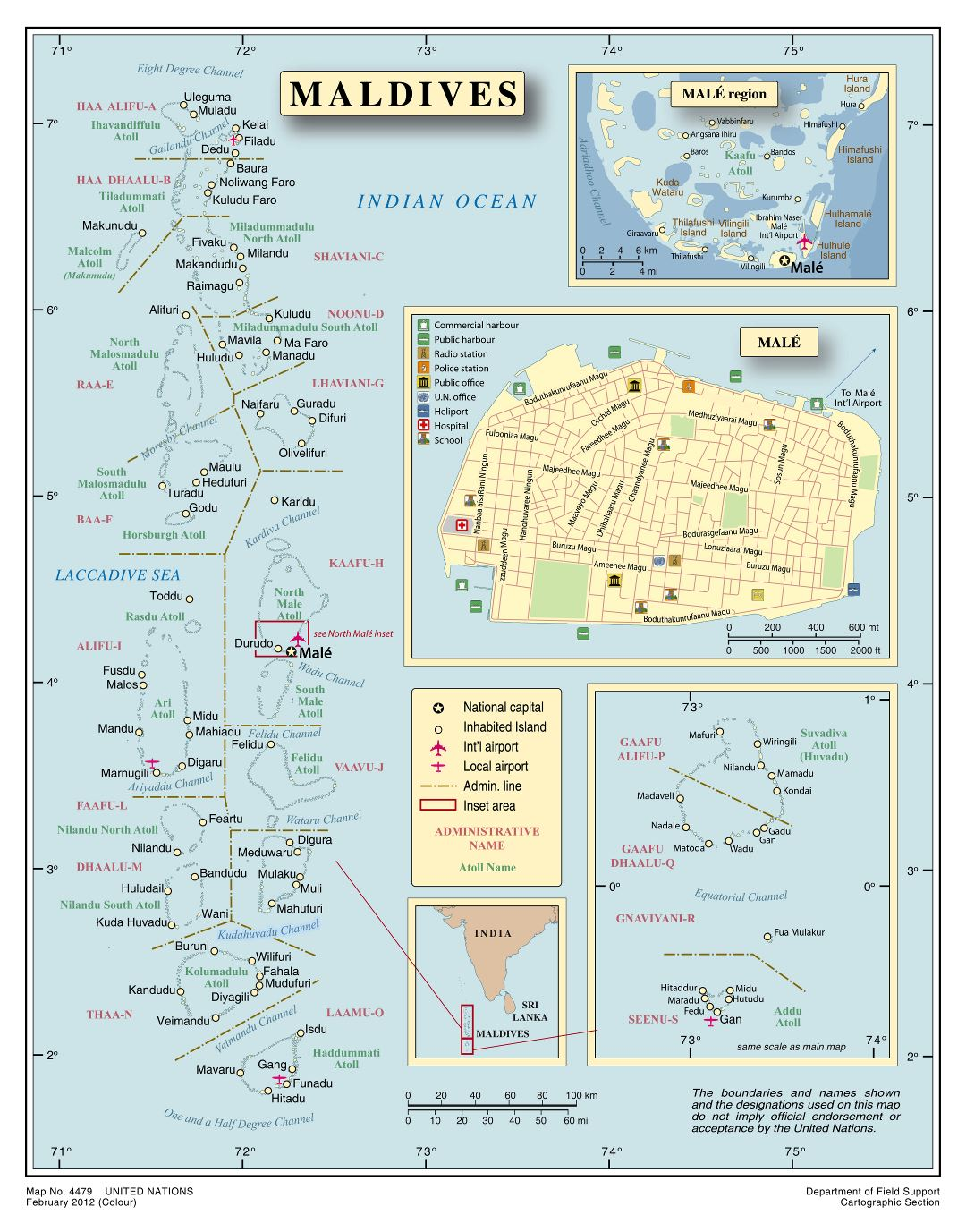 Large scale political and administrative map of Maldives with cities and airports
