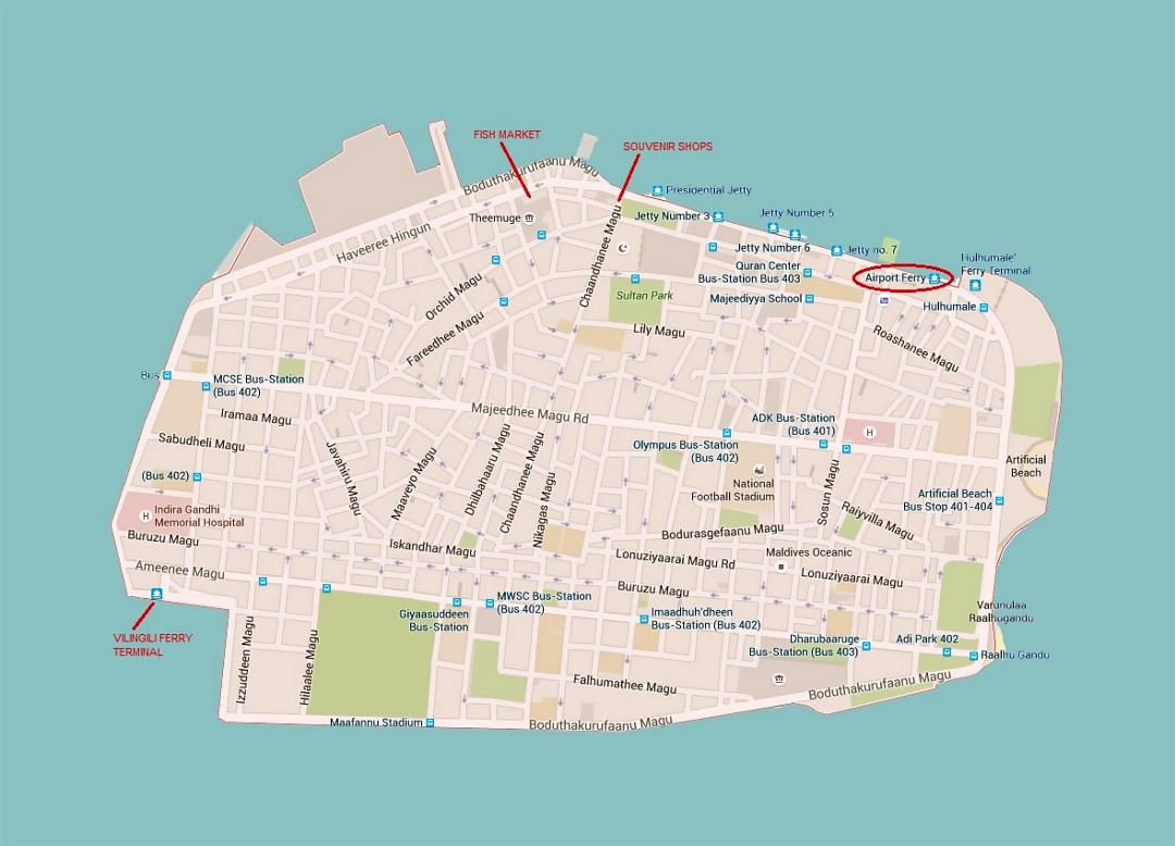 Detailed road map of Male city