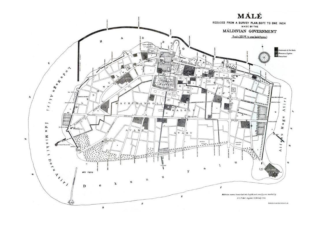 Large detailed old map of Male - 1920