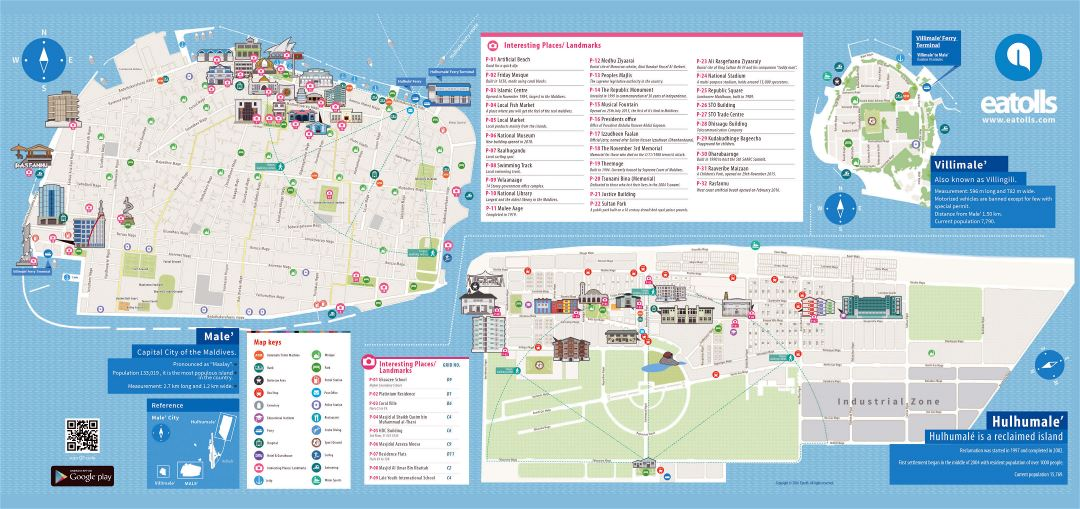 Large scale detailed tourist map of Male and Hulhumale with other marks