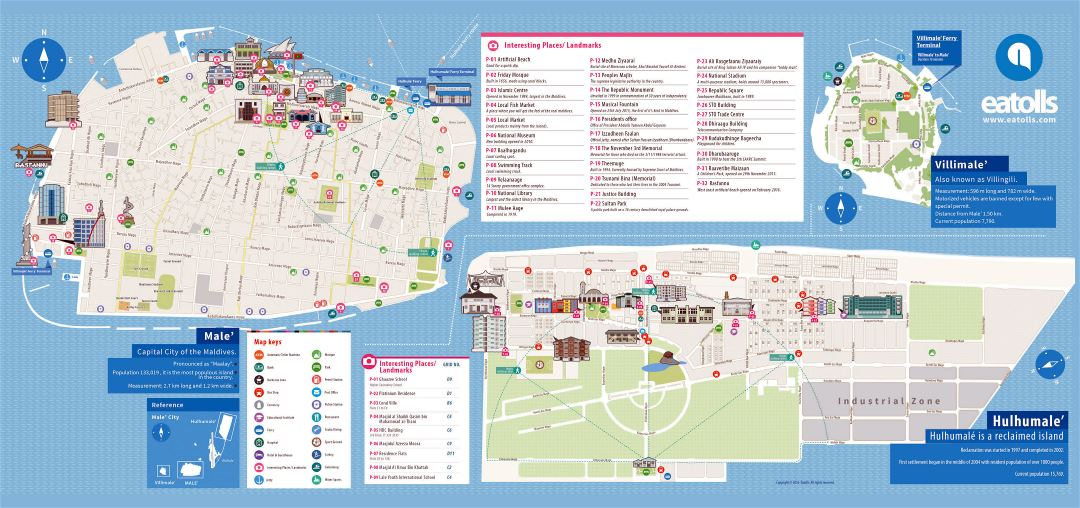 Large scale tourist map of Male and Hulhumale
