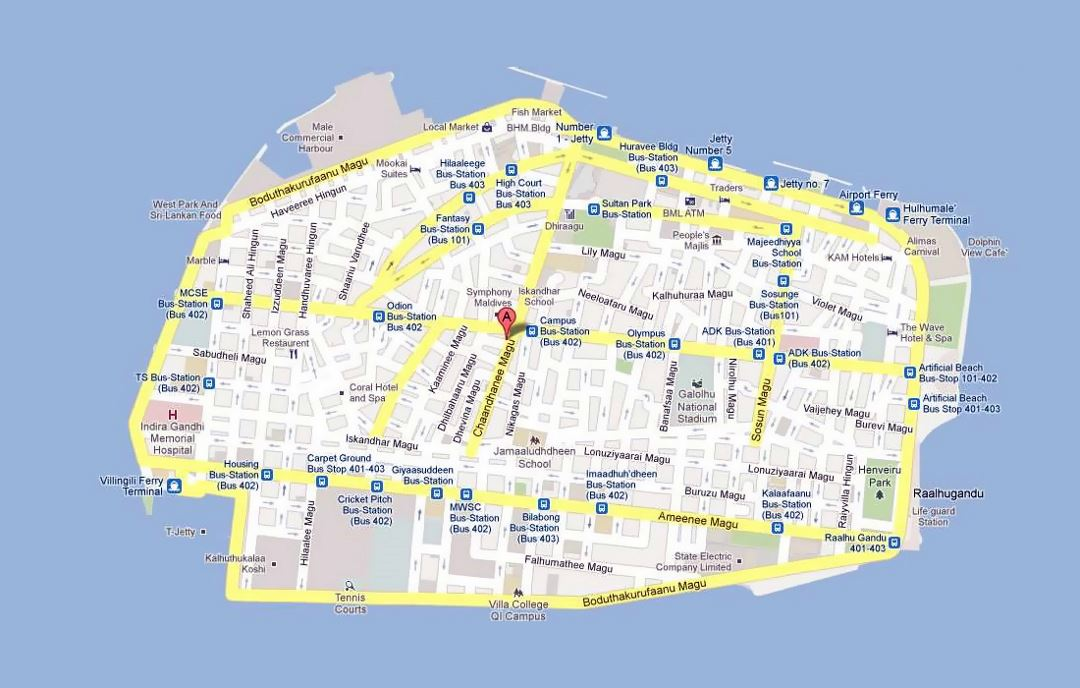 Road map of Male city