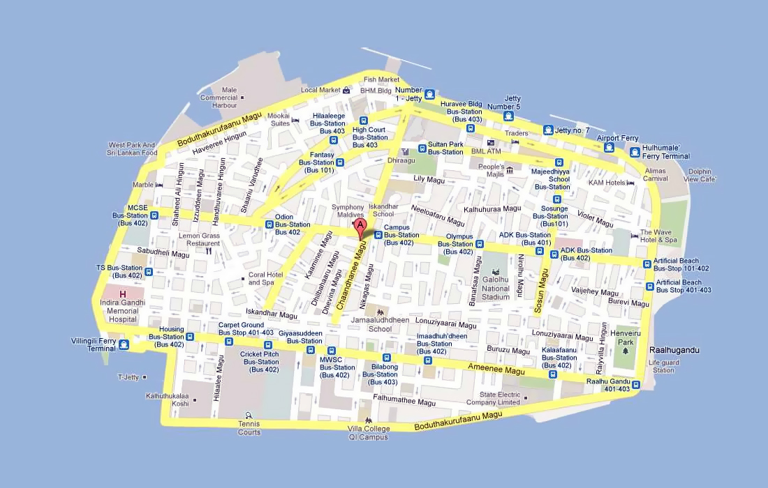 Maldives On Map Of Asia.Road Map Of Male City Male Maldives Asia Mapsland Maps Of