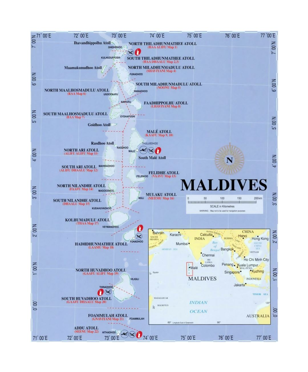 Political map of Maldives