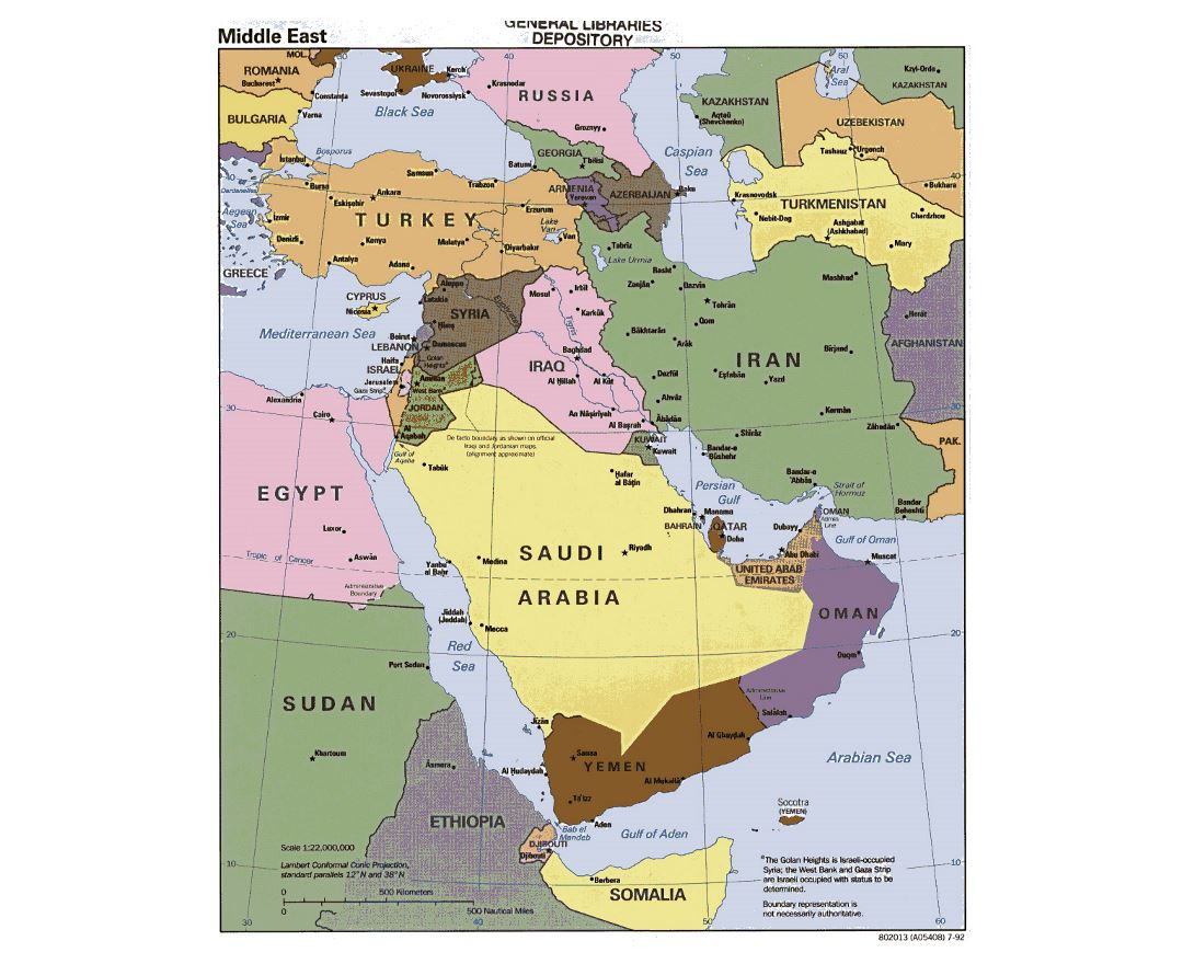 Detailed political map of the Middle East - 1992