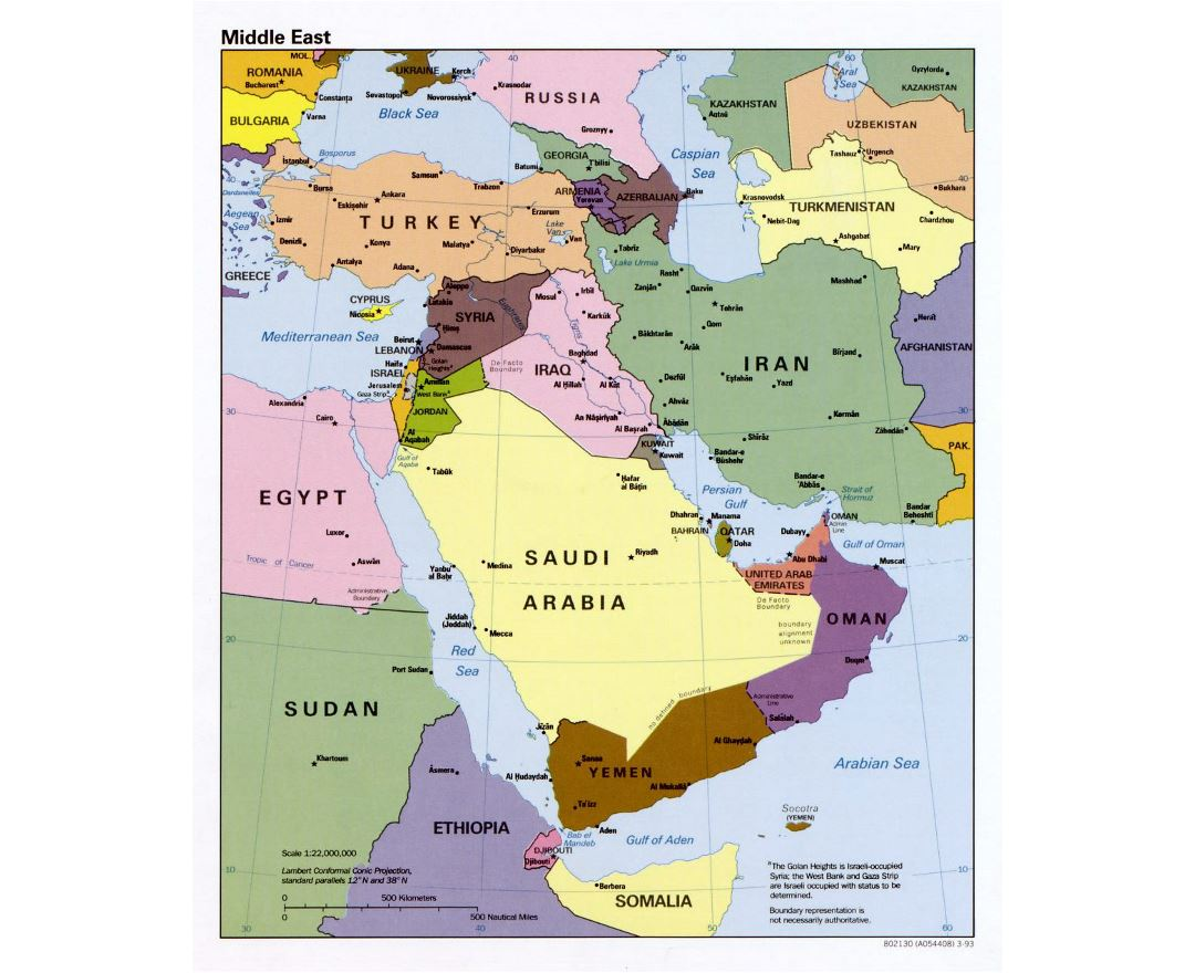 Detailed political map of the Middle East - 1993