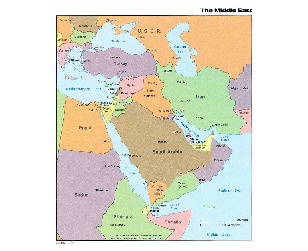 Detailed political map of the Middle East with capitals - 1976