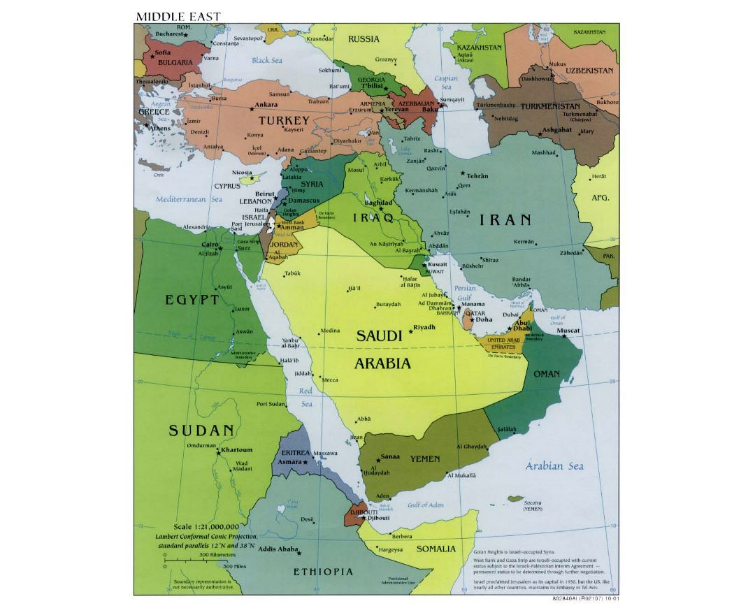 Detailed political map of the Middle East with capitals - 2001