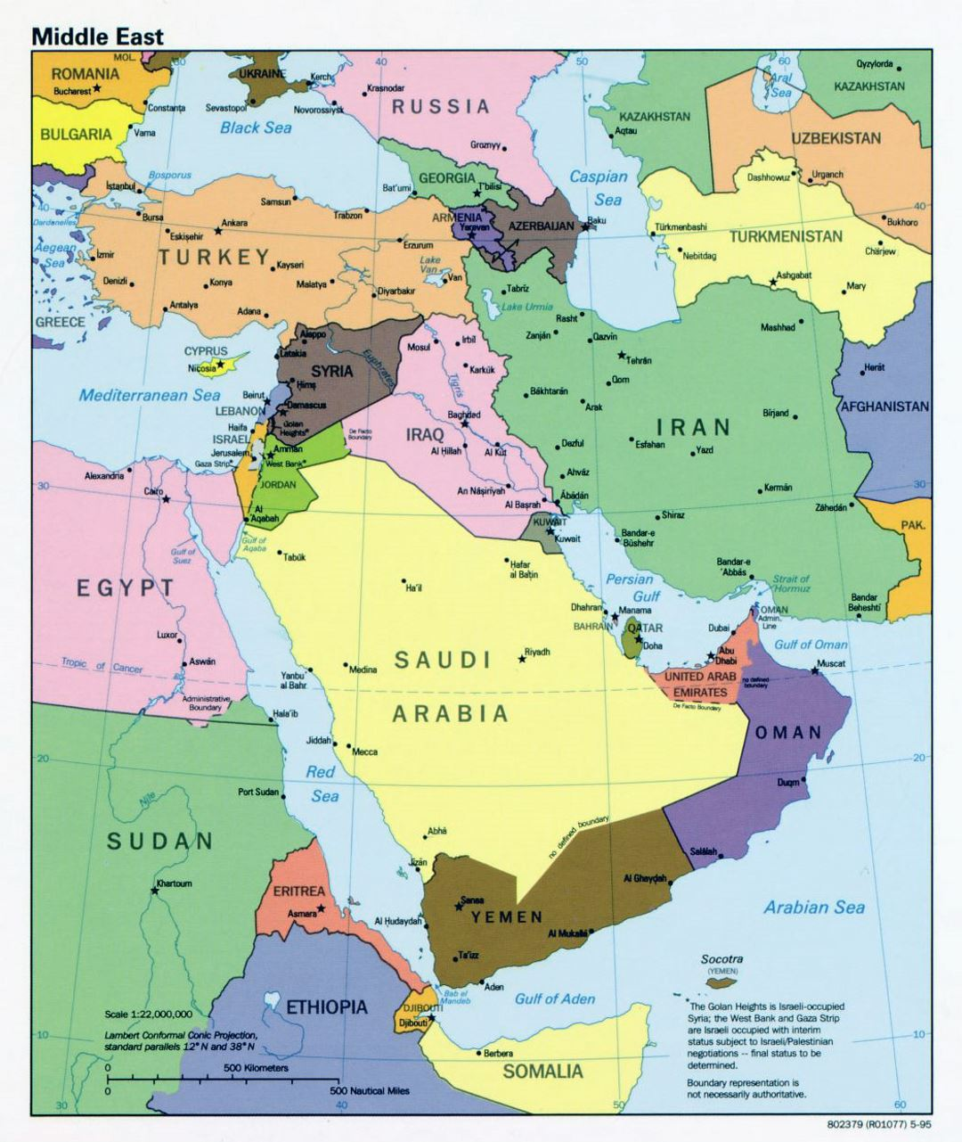 Detailed political map of the Middle East with capitals and major