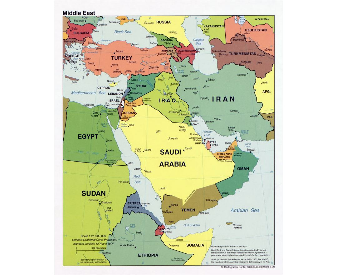 Detailed political map of the Middle East with major cities and capitals - 1999