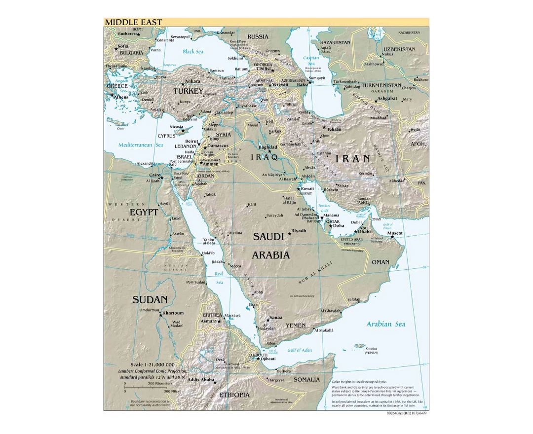 Detailed political map of the Middle East with relief - 1999