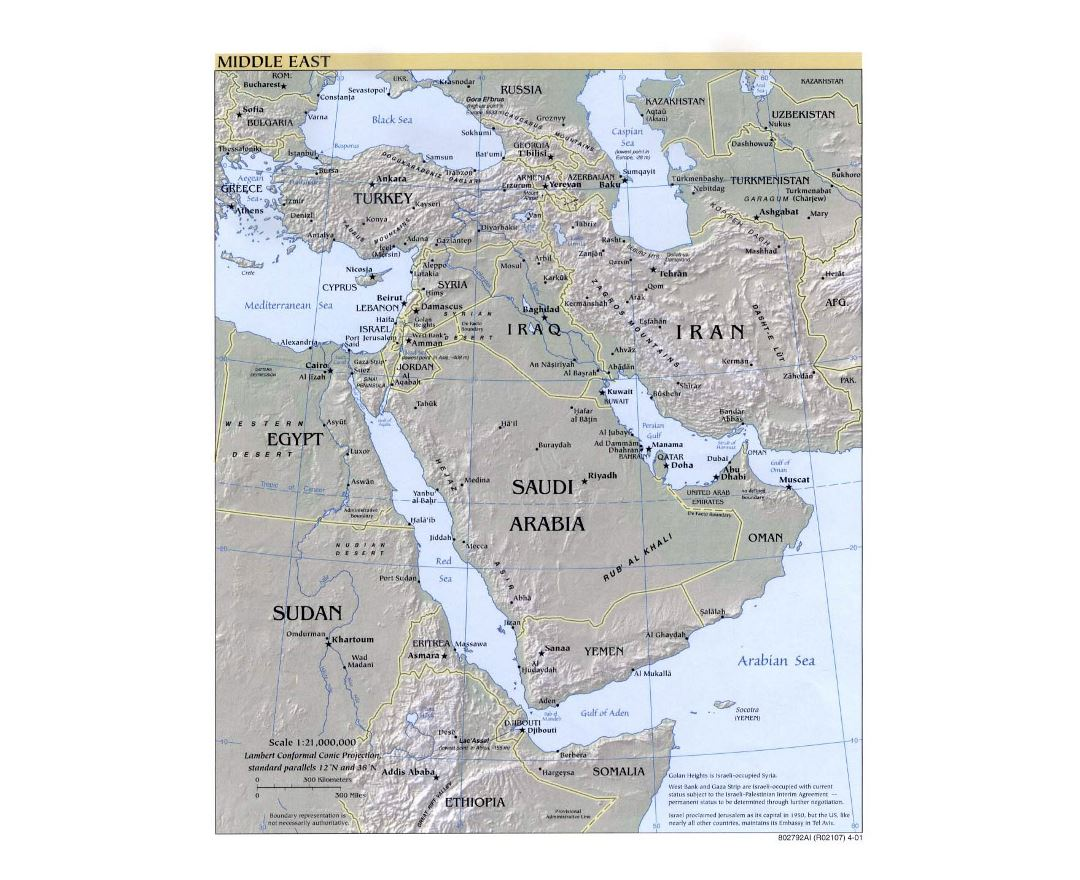Detailed political map of the Middle East with relief and capitals - 2001