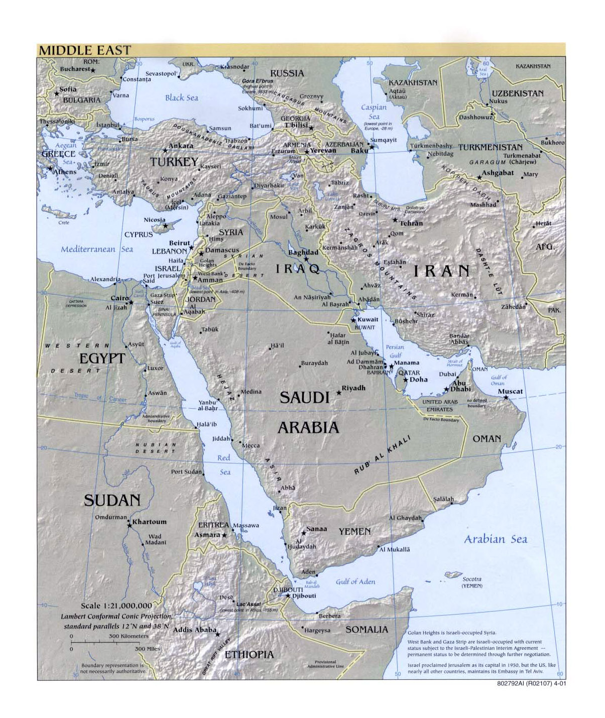 Detailed political map of the Middle East with relief and capitals ...