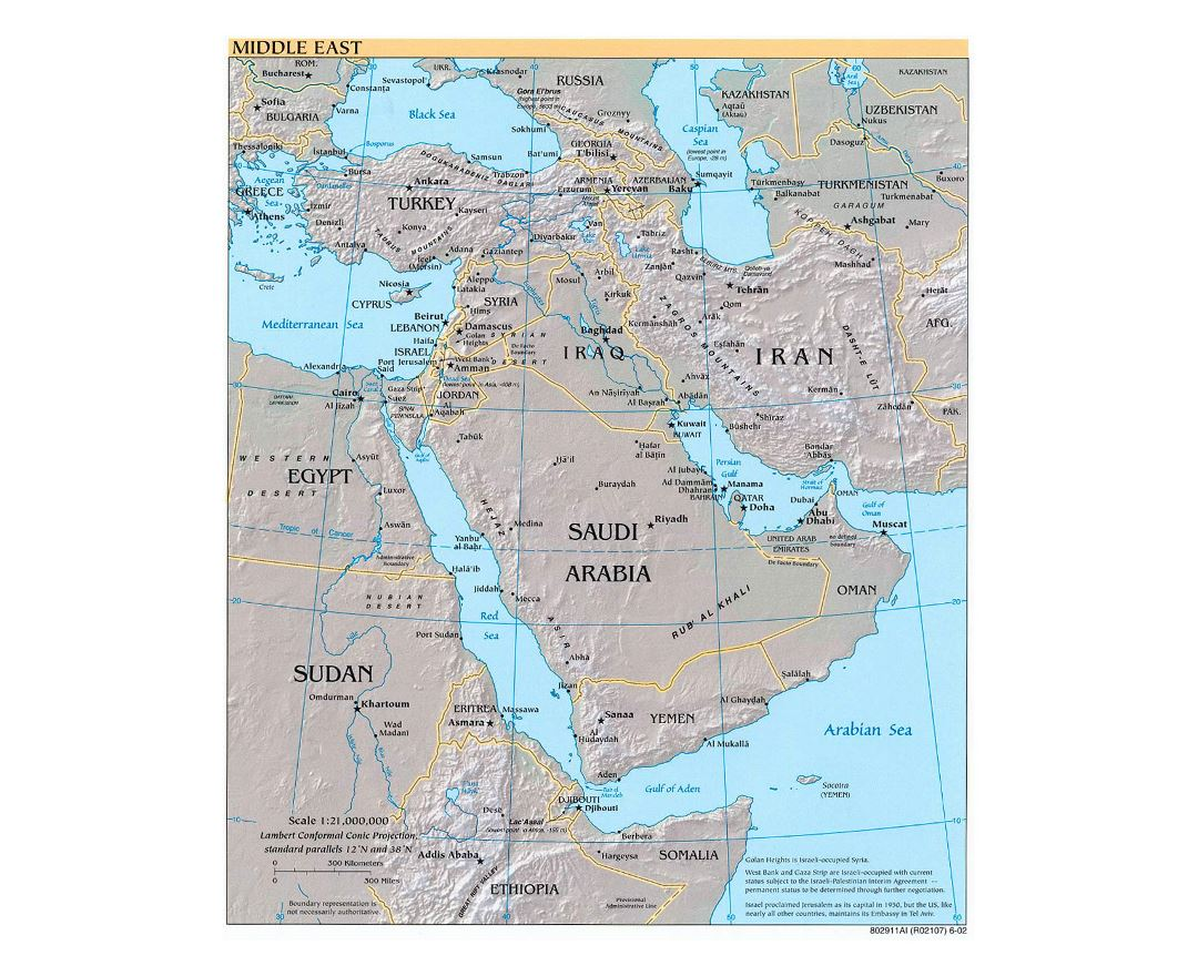 Detailed political map of the Middle East with relief, major cities and capitals - 2002